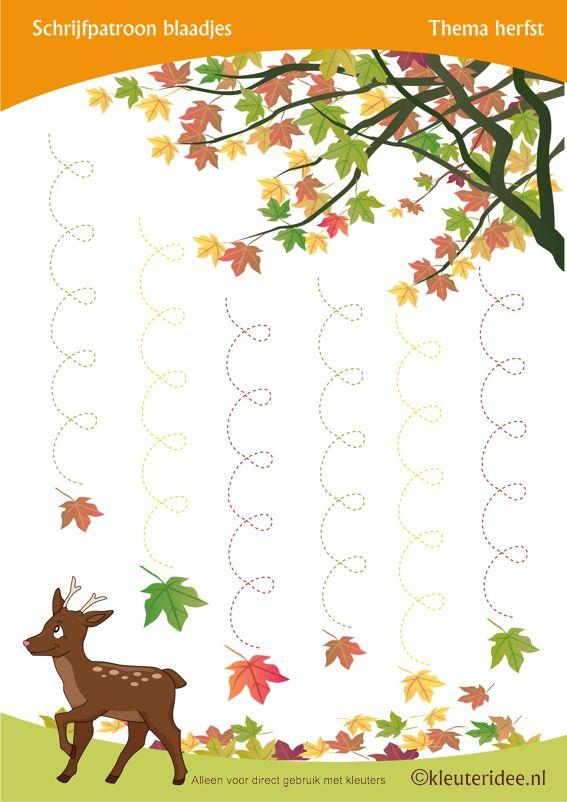 Schrijfpatroon vallend blad voor kleuters , thema herfst, juf Petra van kleuteridee, Preschool autumn writing pattern, free printable.