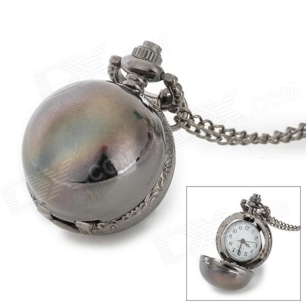 Retro Alloy Dial Chain Quartz Analog + Digital Pocket Watch / Decorative Necklace - Gun Color