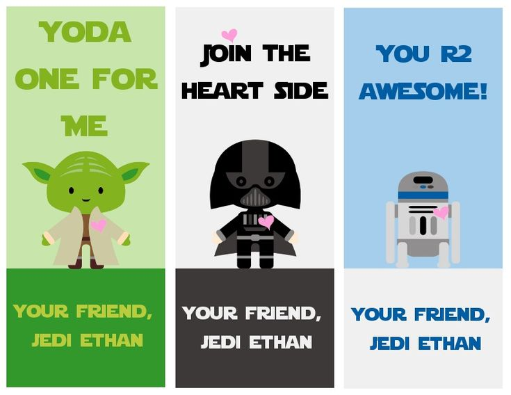 Free printable Star Wars Valentines cards by A Grande Life