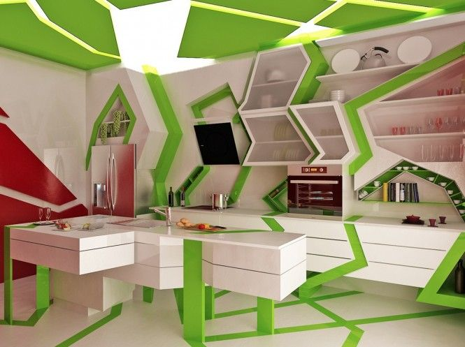 This wild kitchen appears as a disco of stationery green laser beams, certainly not a place you'd like to face with a migraine, in fact that is probably true of every room in this design style, but on the other hand the energized interior would give you a boost in the morning, who needs coffee with all this going on!