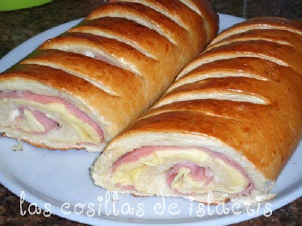 Pan de mantequilla relleno de jamón de york y queso, Receta por Islacris - Petitchef