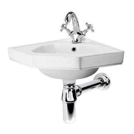 Keswick Traditional Corner Cloakroom Basin 1TH - 420 x 450mm