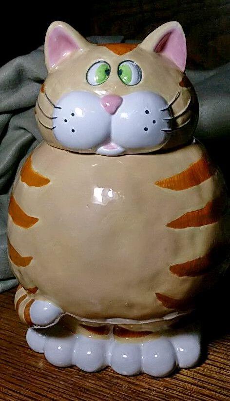 Cat ceramic collectible cookie jar BELLA CASH GANZ • $14.55