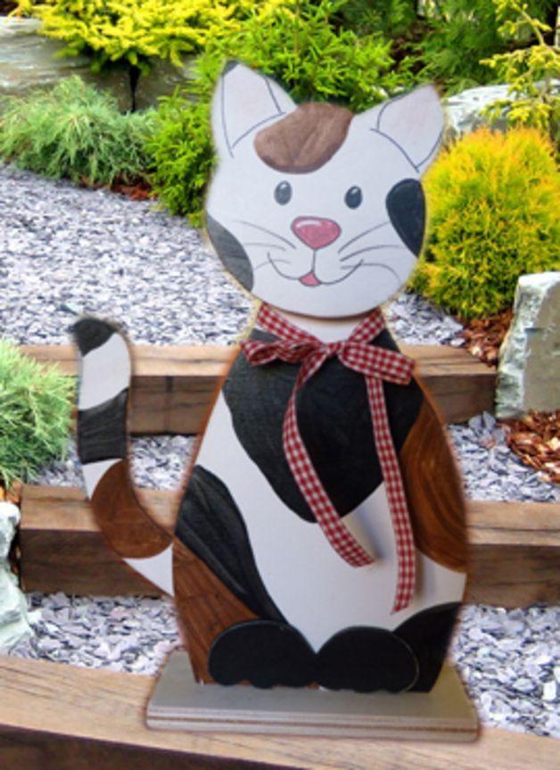 Deko-Objekte - Niedliches Glücks-Kätzchen, Katze aus Holz - ein Designerstück von janeholz-design bei DaWanda