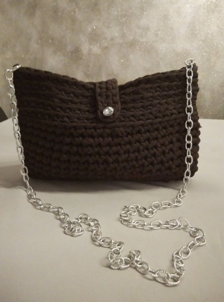 t shirt yarn purse - bag in brown with crystal button and long chain by yrozaf on Etsy