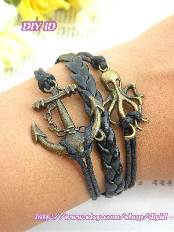 Retro copper Anchor bracelet pirates of the caribbean octopus bracelet leather rope punk style multilayer bracelet B8
