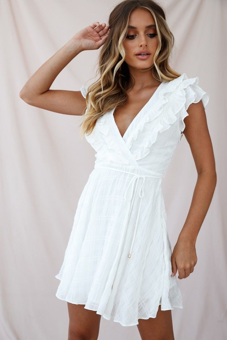 Asher Layered Frill Neckline Mini Dress White Dresses White Short Dress White Mini Dress [ 1100 x 733 Pixel ]