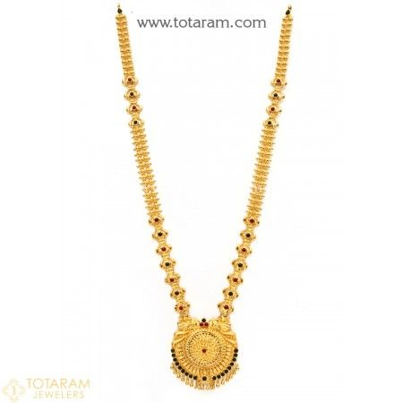 22K Gold Long Necklace with Beads - 235-GN2244 - Buy this Latest Indian Gold Jewelry Design in 49.950 Grams for a low price of  $2,692.35