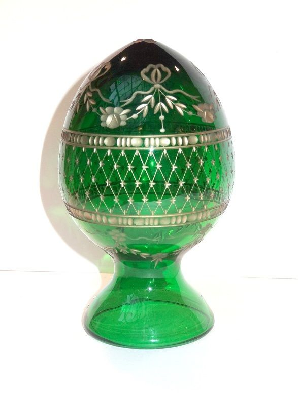 Russian Dolls  - Green Crystal Faberge Egg, $78.00 (http://www.russiandolls-boutique.com/russian-eggs/green-crystal-faberge-egg/)