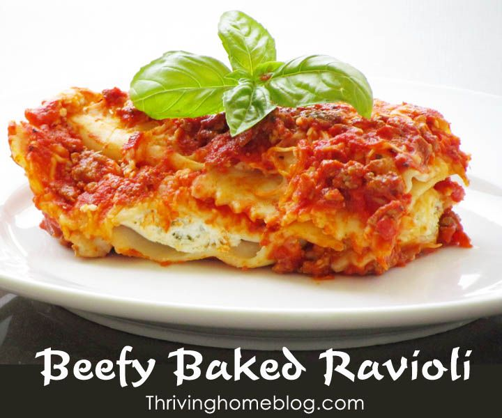 Baked Beef Ravioli is a fake-out lasagna and family favorite that's perfect for a crowd.