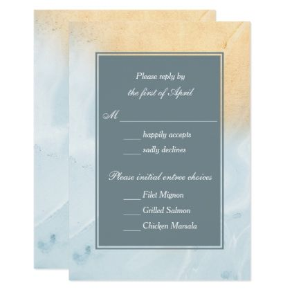 Blue and Gold Marble Wedding Reply Card - wedding invitations cards custom invitation card design marriage party