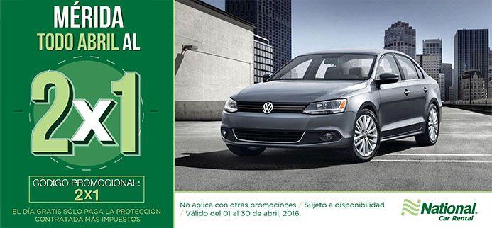 ¡En #Abril aprovecha el 2X1 en #Mérida! Reserva ahora... https://nationalcar.com.mx/ #NosotrosTeLlevamos