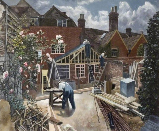 Builders at Work, Brick House, Great Bardfield - John Arthur Malcolm Aldridge (1905–1983)