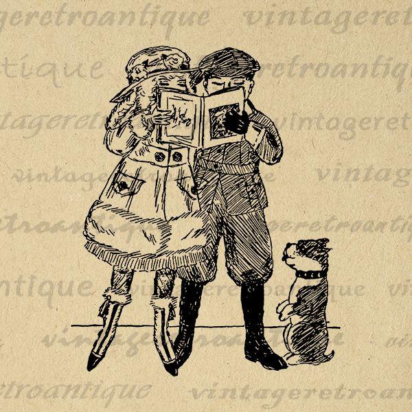 Boy and Girl Reading Book with Dog Image Digital Download Printable Graphic Vintage Clip Art Jpg Png Eps Print 300dpi No.3200 @ vintageretroantique.com #DigitalArt #Printable #Art #VintageRetroAntique #Digital #Clipart #Download #Vintage #Antique #Image #Illustration