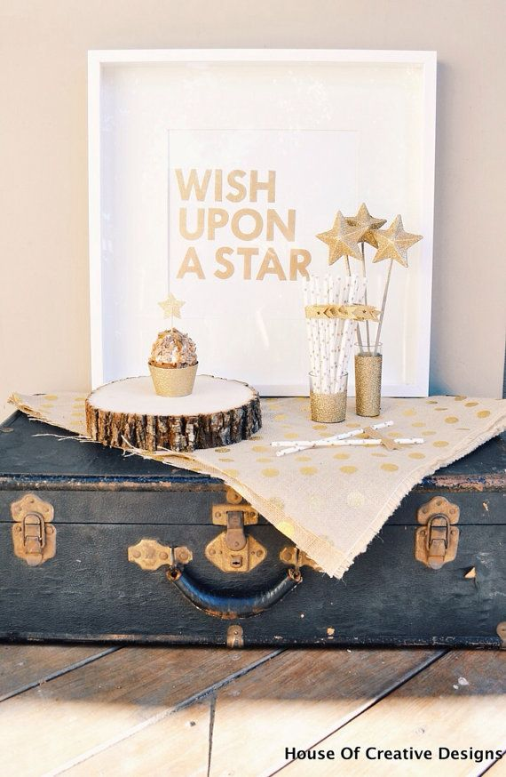 Wish Upon a Star Canvas Board Sign in Gold by HOCDesignsMarket, $30.00
