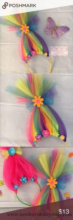 Baby Accessories Neon Rainbow Troll Hair Headband Handcrafted tulle neon rain...