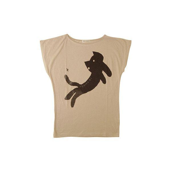 ネコキラT : TSUMORI CHISATO | HUMOR ❤ liked on Polyvore featuring tops, t-shirts, shirts, tees, camiseta, brown shirts, t shirt, brown t shirt, brown tee and tsumori chisato