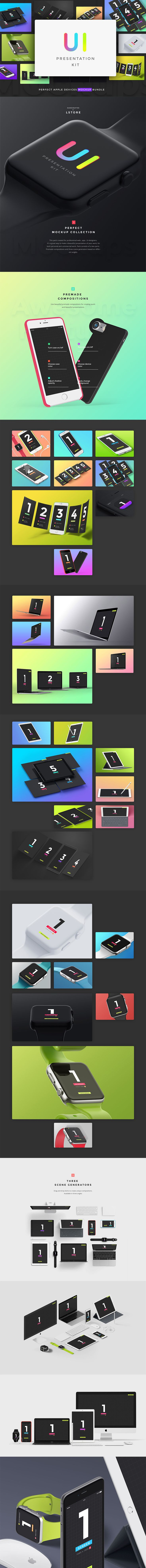 This pack with apple devices mockups is for professional web-, app-,  UI-designers. It's a great way to make a beautiful presentation of your  work, ...