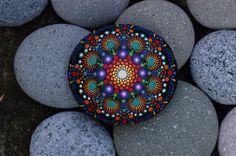 3x2.8 inch Hand painted mandala on river rock/mandala stone by