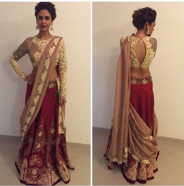 Ivory lace blouse and red sari