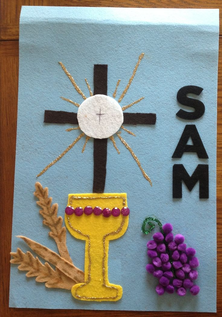 Sam's First Communion Banner.   ..FYI.. Be sure to use the firmer felt. It is much easier to cut .