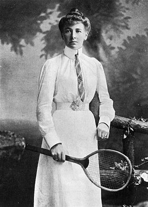 Charlotte Cooper Sterry (1870-1966), English tennis player, Wimbledon champion 1895, 96, 98, 1901, 1908, Olympic champion in singles and mixed 1900