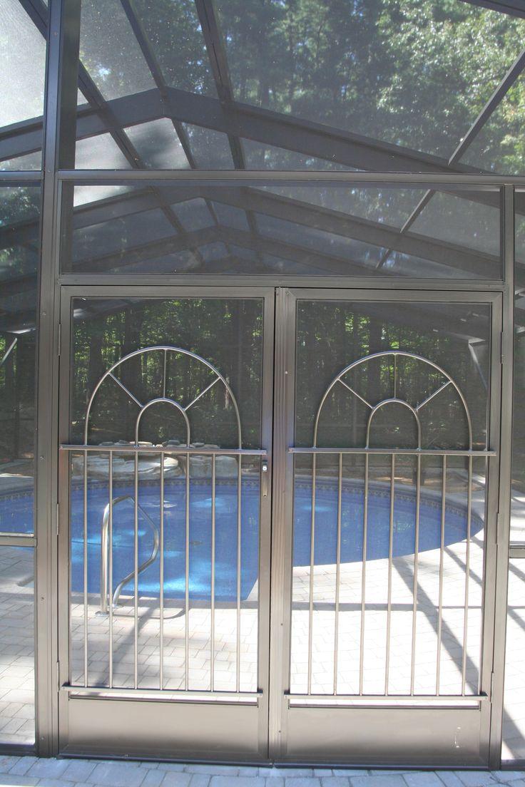 46 best decorative aluminum screen door grilles images on for Double front doors with screens