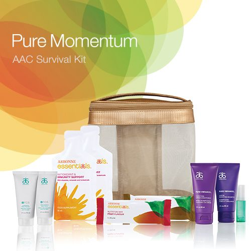 Everything that you need to get caught up in the Pure Momentum at AAC 2014 in a convenient Survival Kit! Containing key Arbonne favourites to ensure that you look and feel fabulous all weekend, this kit is an essential item to bring with you to #AAC2014.