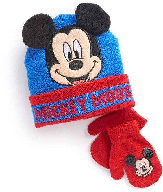 54f1b7ae3e2 Disney Mickey Mouse Toddler Boy 3D Ears Hat Mittens Set Blue Red NEW https