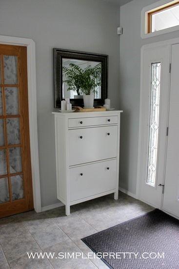 Love the ikea shoe cabinet...