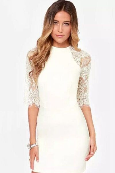 White Lace Half Sleeve Mini Dress US$10.64