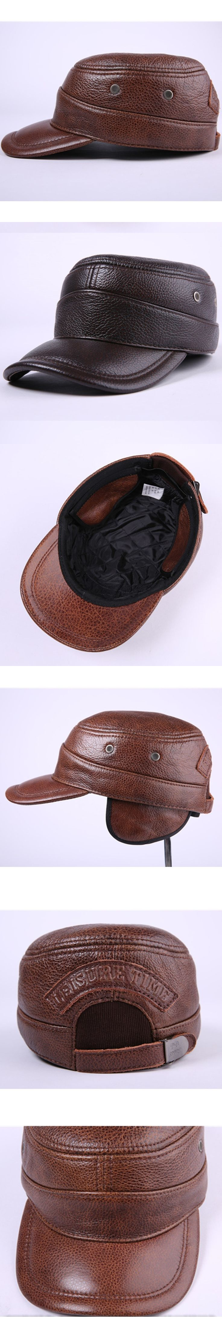 Winter Men's Hats Thicken Leather Excellent Baseball Caps With Warm Earmuffs Adjustable Head Size Bone Peaked Cap Dad Hat