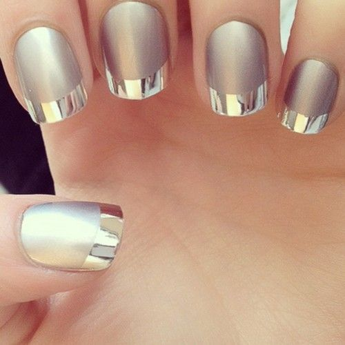Matte grey and silver French manicure