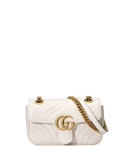 GUCCI Gg Marmont 2.0 Small Quilted Crossbody Bag, White. #gucci #bags #shoulder bags #leather #crossbody #lining #