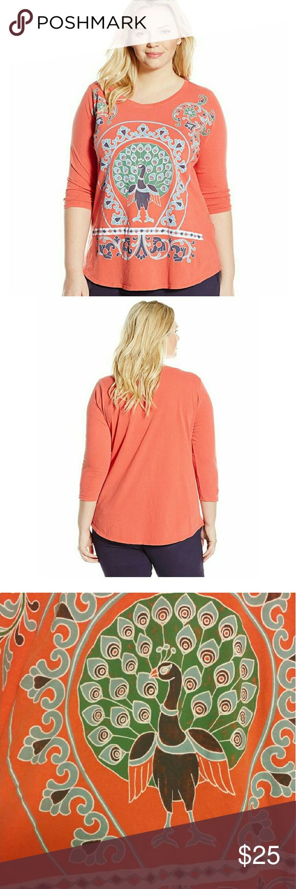 Lucky Brand Peacock Shirt Coral in color.  Peacock design. 3/4 Sleeve Never Worn. Purchased for $39.50 NWT Lucky Brand Tops Tees - Short Sleeve