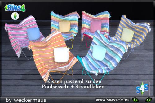 Cushion recolours for your pool armchairs by weckermaus.  Details and download at the Simszoo (free registration required)  Find this and a lot more at the Simszoo!  Need help with registration? Have a look here!  If you play Sims 3 and/or Sims 2, too,...