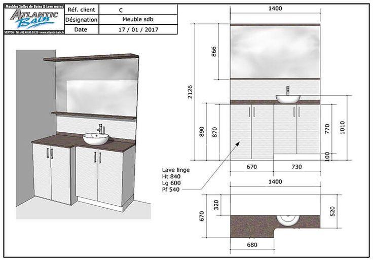 Plan d taill pour salle de bain avec lave linge int gr - Meuble salle de bain lave linge integre ...