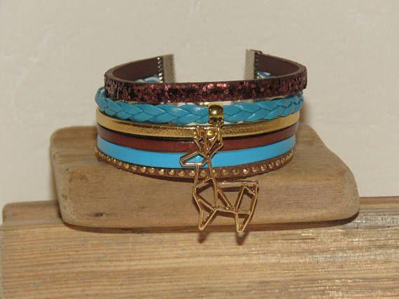Bracelet Manchette marron brun turquoise doré cuir