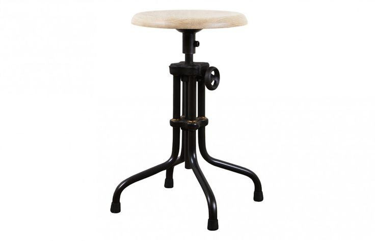 District Eight Adjustable Stool with Weathered Oak
