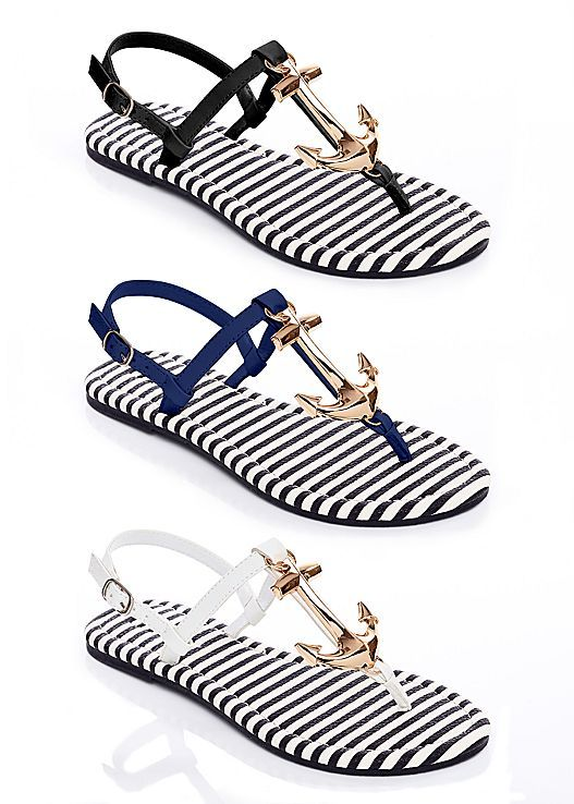 Let your look set sail with these adorable sandals! Venus anchor detail sandal.