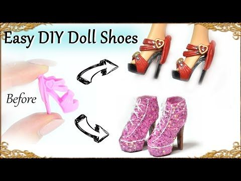 Easy DIY Barbie / Doll Custom Shoes – How to recycle basic doll shoes – YouTube