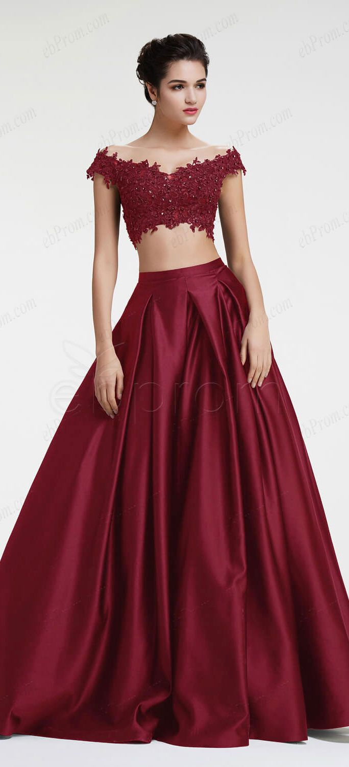 Burgundy prom dresses two piece prom dresses off the shoulder prom dress long prom gowns long