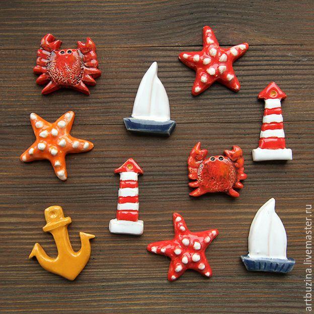 Купить Брошки на морскую тему - брошь, море, морская тема, морской стиль, якорь