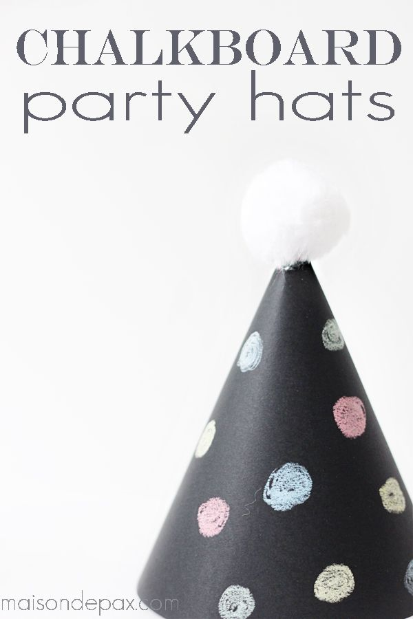 Perfect for your next party, these little chalkboard party hats are so easy precious! Get the tutorial at maisondepax.com #diy #howtomake #k...