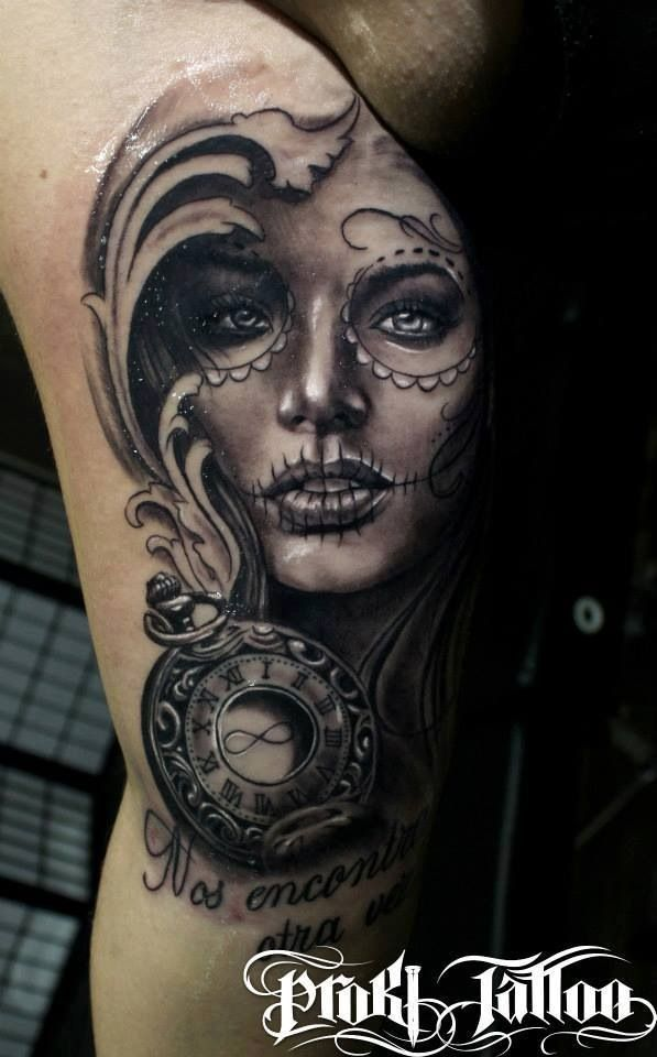 Day of the dead tattoo Love the light colored eyes & eye lashes The pure and innocent look