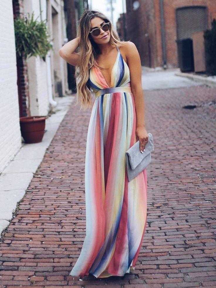 Bohemian Multicolor Striped Maxi Dress