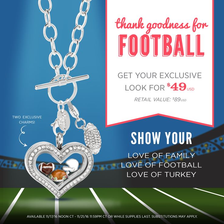 Origami Owl exclusive offer for a limited time! Plus free shipping on $75 order or more. Football and Thanksgiving. Heart locket and football charms, necklace and dangle. https://dreambig.origamiowl.com/