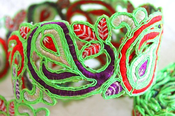 Cut Work Fabric Trim Embroidered Floral Design Neon Green Fabric Ribbon Trim- Wide Trim-Green Sari Border By The Yard