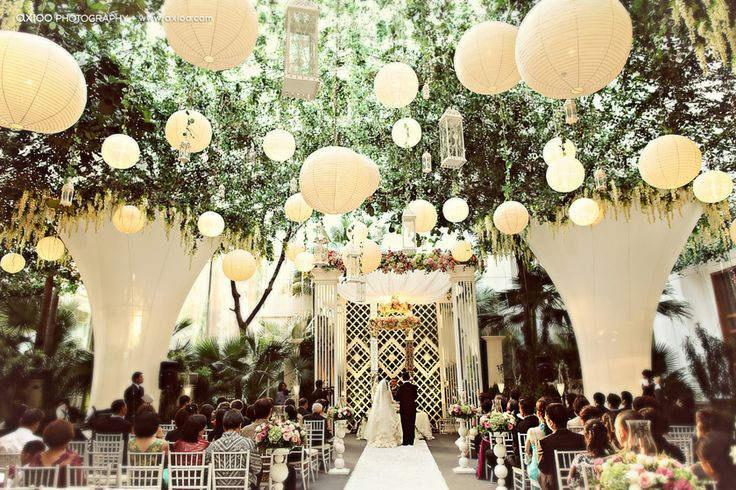 hanging lanterns at the ceremony!