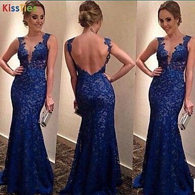 KissTies®Women's Blue V-neck Sexy fashion Dress Backless dress - USD $ 57.02